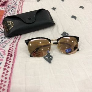 EUC Ray-Ban Pink Mirrored Clubmaster Sunglasses